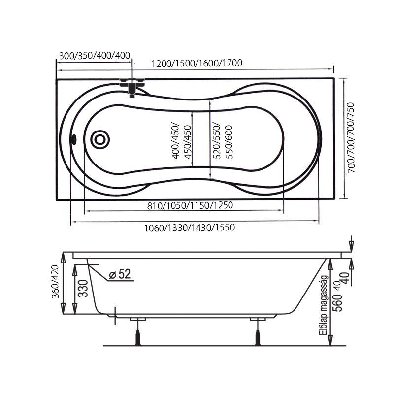 M-Acryl MARS 150x70 egyenes akril kád + Comfort 6+4+2 vízmasszázs, pneumatikus vezérléssel