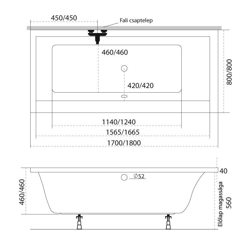 M-Acryl CORAL I. 180x80 egyenes akril kád + Comfort 6+4+2 vízmasszázs, pneumatikus vezérléssel