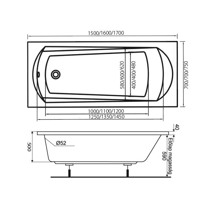 M-Acryl TAMIZA 150x70 egyenes akril kád + Activ 4+4+4 vízmasszázs, pneumatikus vezérléssel