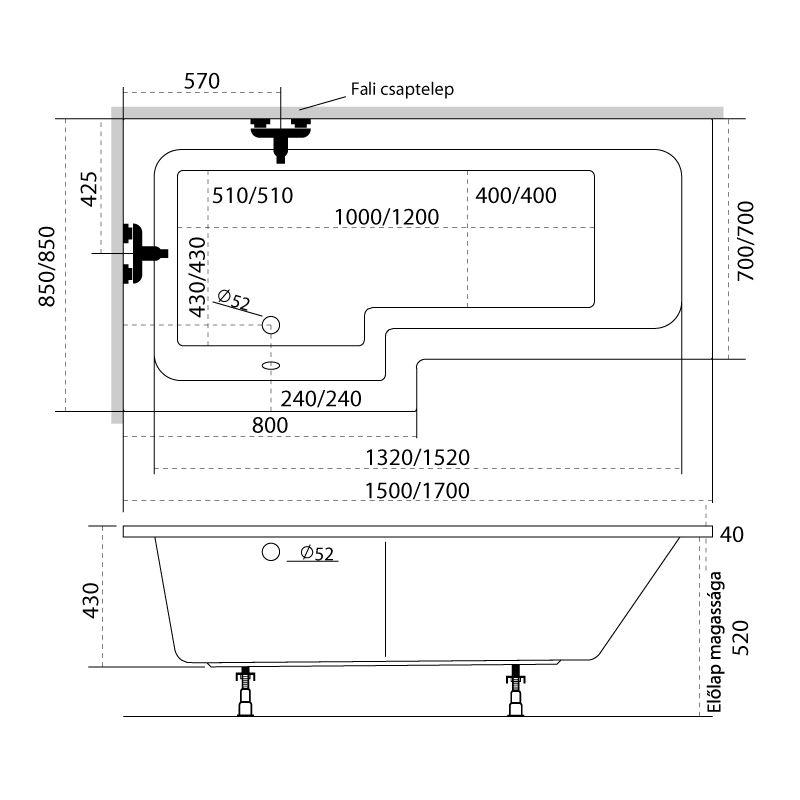 M-Acryl LINEA 150X70/85 aszimmetrikus akril kád + Activ 4+4+4 vízmasszázs, pneumatikus vezérléssel
