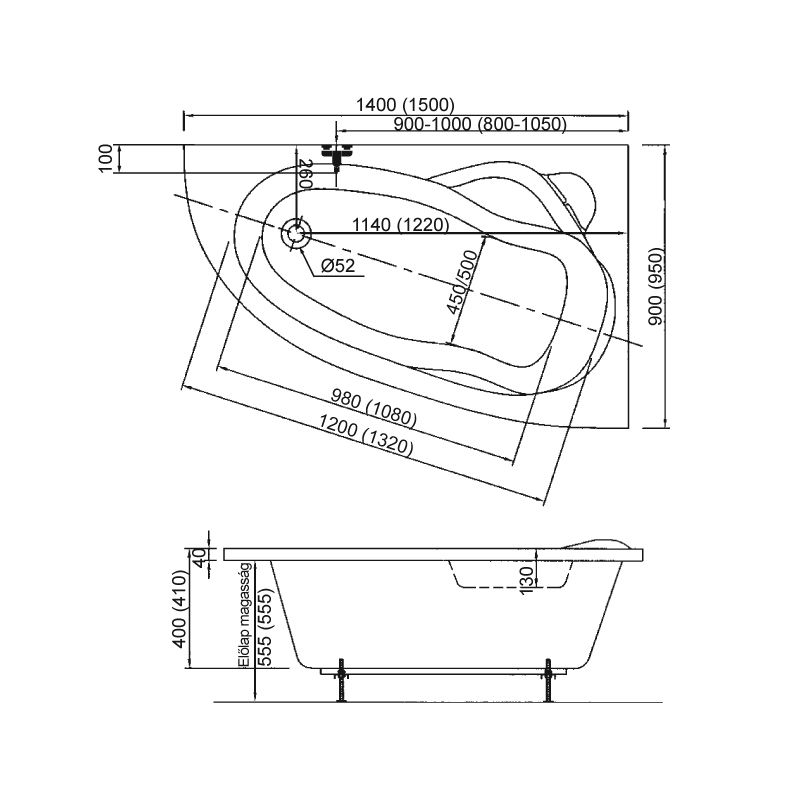 M-Acryl LIZA 150x95 Jobbos aszimmetrikus akril kád + Basic 4+4+2 vízmasszázs, pneumatikus vezérléssel