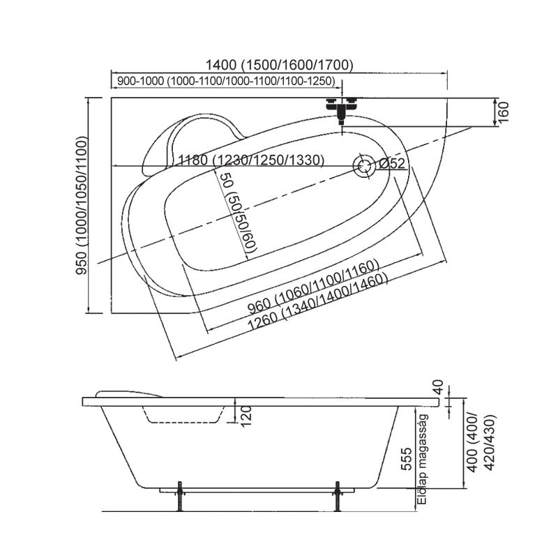 M-Acryl DARIA 150x100 Jobbos aszimmetrikus akril kád + Wellness Premium 24 fúvókás Masszázsrendszer,  elektronikus  vezérléssel