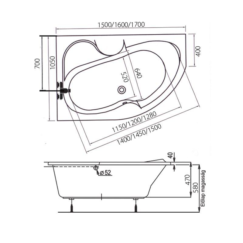 M-Acryl AZALIA 150x105 Balos aszimmetrikus akril kád + Wellness Premium Plus 28 fúvókás intelligens Masszázsrendszer ABC* technológiával,  elektronikus  vezérléssel