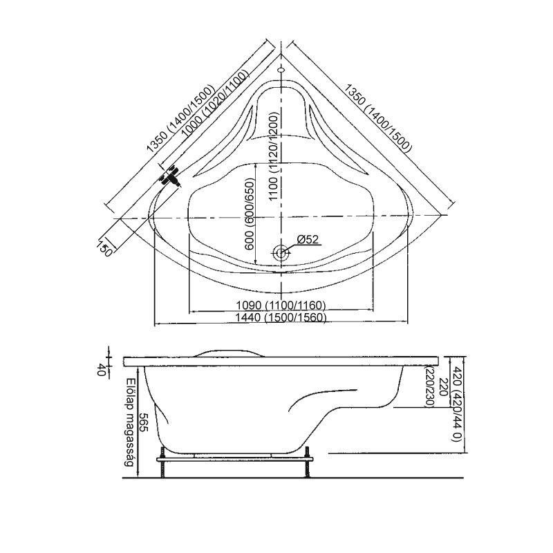 M-Acryl RITA 140x140 akril sarokkád / kád + Basic 4+4+2 vízmasszázs, pneumatikus vezérléssel