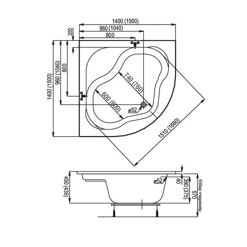 M-Acryl SAMANTA 140x140 akril sarokkád / kád + Basic 4+4+2 vízmasszázs, pneumatikus vezérléssel