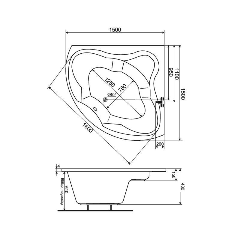M-Acryl ANCONA 150x150 akril sarokkád / kád + Wellness ELEGANT 30 fúvókás intelligens Masszázsrendszer ABC* technológiával ,  elektronikus  vezérléssel