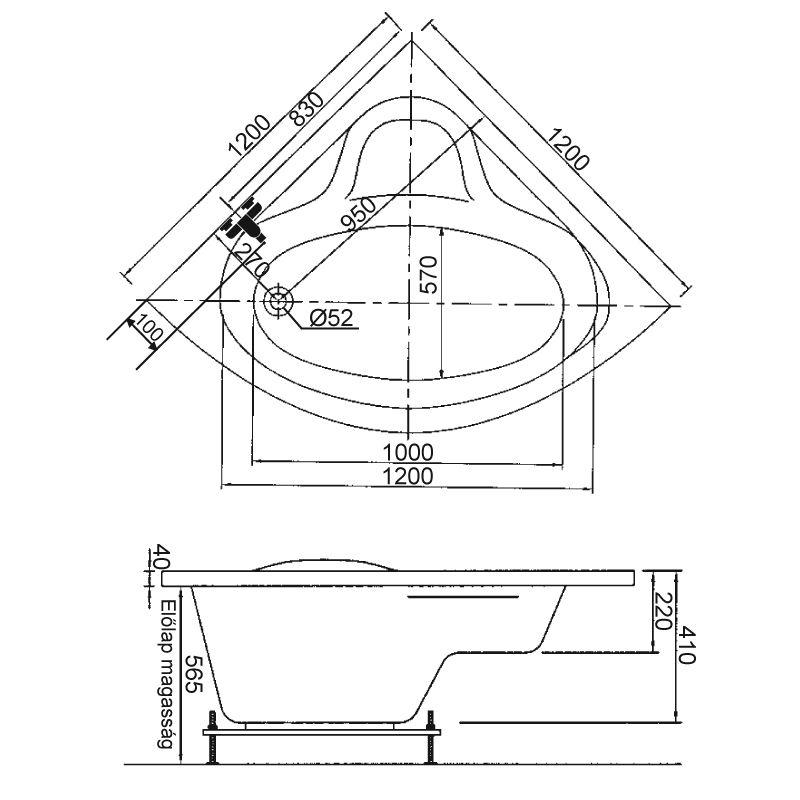 M-Acryl IDA 120x120 akril sarokkád / kád + Wellness ELEGANT 30 fúvókás intelligens Masszázsrendszer ABC* technológiával ,  elektronikus  vezérléssel