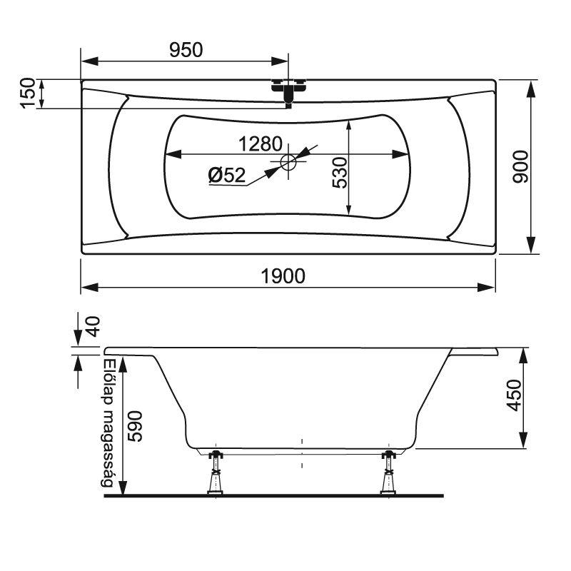 M-Acryl AVANTGARDE 190x90 egyenes akril kád  + Activ 4+4+4 vízmasszázs, pneumatikus vezérléssel