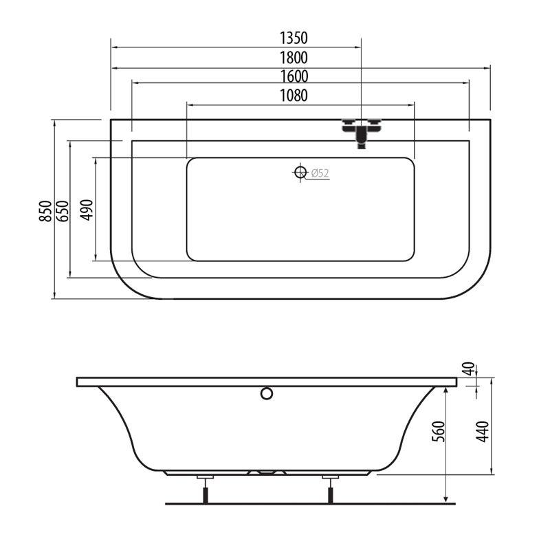 M-Acryl PRINCESS 180x85 akril kád  + Basic 4+4+2 vízmasszázs, pneumatikus vezérléssel