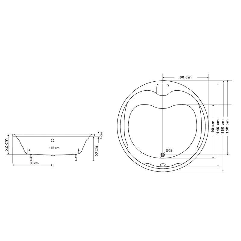 M-Acryl DEBORA 160 Kör alakú akril kád  + Wellness ELEGANT 30 fúvókás intelligens Masszázsrendszer ABC* technológiával ,  elektronikus  vezérléssel
