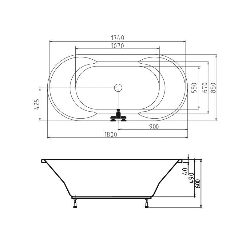 M-Acryl CLEOPATRA 180x85 akril kád  + Activ 4+4+4 vízmasszázs, pneumatikus vezérléssel