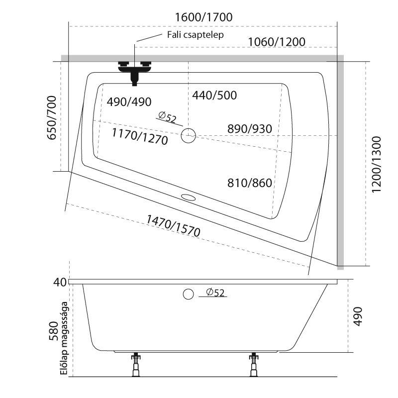 M-Acryl TRINITY 160x120 akril kád  + Wellness 22 fúvókás Masszázsrendszer, elektronikus  vezérléssel
