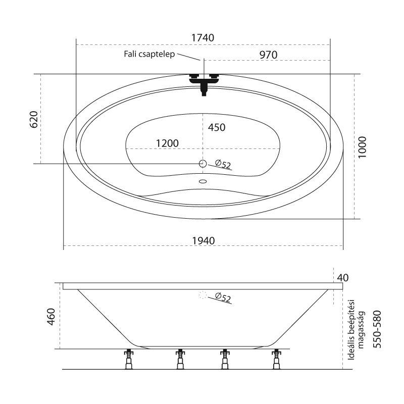 M-Acryl LUX I. 194x100 akril kád  + Activ 4+4+4 vízmasszázs, pneumatikus vezérléssel