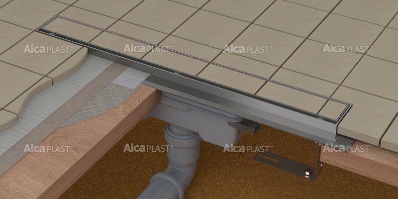 AlcaPLAST  APZ1007 Floor-1150 Zuhanyfolyóka peremmel / burkolható rácshoz / függőleges lefolyóval / alaptest