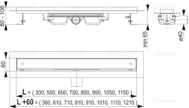 AlcaPLAST  APZ107-FLOOR-950 Floor Low / Alacsony zuhanyfolyóka peremmel / rács behelyezésére