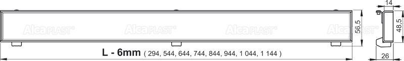 AlcaPLAST  APZ1107-FLOOR-1050 Floor Low / Zuhanyfolyóka peremmel / burkolható rácshoz / függőleges lefolyóval