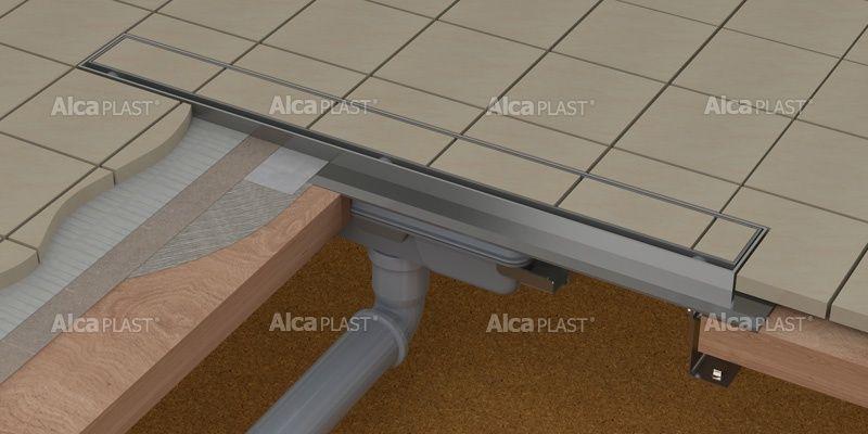 AlcaPLAST  APZ1107-FLOOR-1150 Floor Low / Zuhanyfolyóka peremmel / burkolható rácshoz / függőleges lefolyóval