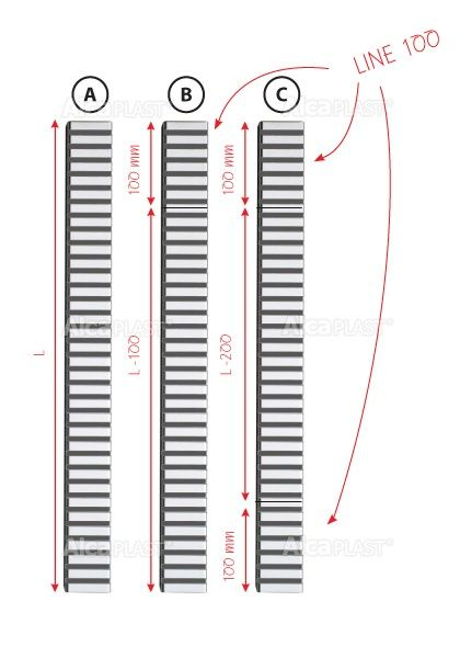 AlcaPLAST  LINE-100M  kiegészítő rács