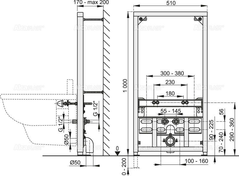 AlcaPLAST  A105/1000 Szerelő keret bidéhez (szerelési magasság 1000 mm)