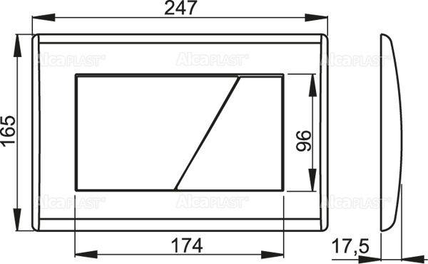 AlcaPLAST  M172 Kétöblítéses nyomólap falba építhető tartályhoz, Matt króm