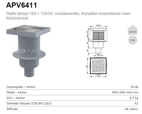 AlcaPLAST  PV6411 alsó kifolyású rozsdamentes padlólefolyó