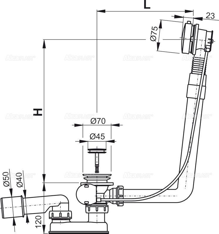 AlcaPLAST  A552K Automata kádszifon készlet fém