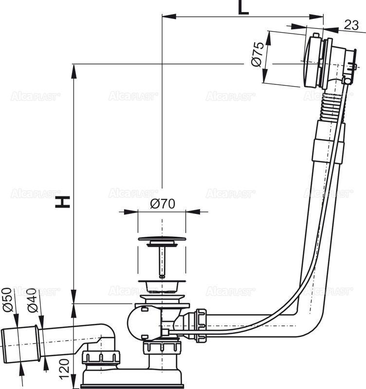 AlcaPLAST  A552KM 80 Automata kádszifon készlet fém