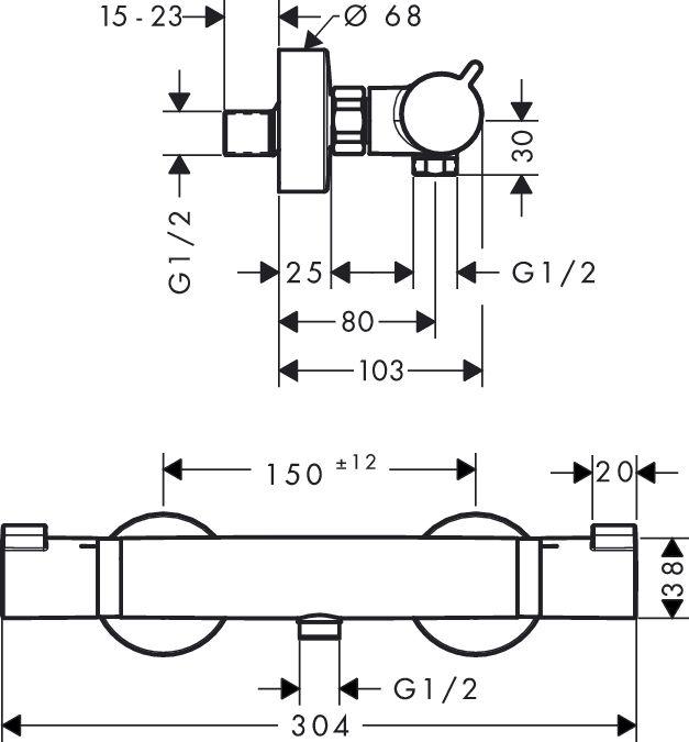 HansGrohe Ecostat Comfort termosztátos zuhanycsaptelep DN15 / falsíkon kívüli szereléshez / króm / 13116000 / 13116 000