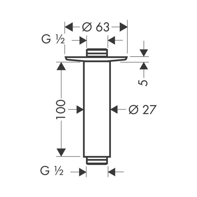 HansGrohe Mennyezeti csatlakozó 100 mm DN15 / króm / 27479000 / 27479 000