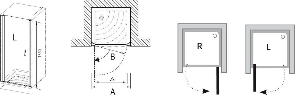 RAVAK Elegance ESD1-80 Egyrészes jobbos zuhanyajtó króm kerettel / TRANSPARENT edzett biztonsági üveggel 80 cm / 0EP40A00Z1