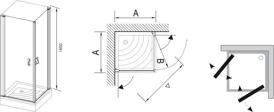 RAVAK Elegance ESKR2-100 Sarokbelépős zuhanykabin két nyíló résszel króm kerettel / TRANSPARENT edzett biztonsági üveggel 100 cm / 1JEA0A00Z1