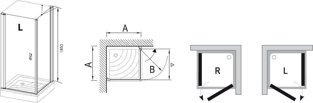 RAVAK Elegance ESKPS-90 Kétrészes balos zuhanykabin fix oldallal króm kerettel / TRANSPARENT edzett biztonsági üveggel 90 cm / 1ML70A00Z1