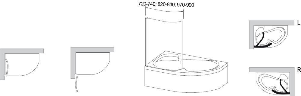 RAVAK EVSK1-100 jobbos Rosa II 170 egyrészes kádparaván nyíló elemmel fehér profillal / TRANSPARENT edzett biztonsági üveggel 100 cm / 76PA0100Y1
