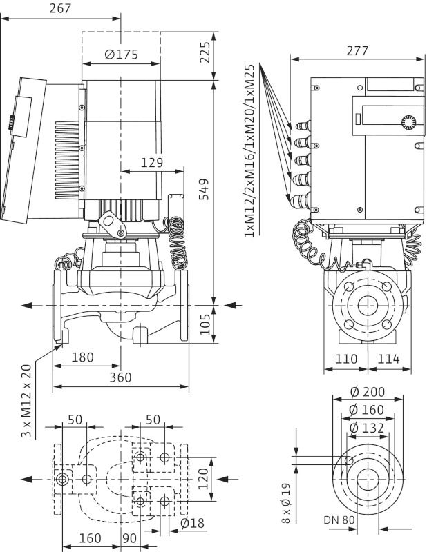 WILO Stratos GIGA 80/1-32/3,8-R1 Nagyhatásfokú inline szivattyú EC-motorral / 2117177