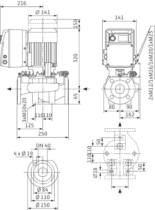 WILO VeroLine IP-E 40/115-0,55/2 R1 Elektronikusan szabályzott száraztengelyű egyes-szivattyú / 2131261