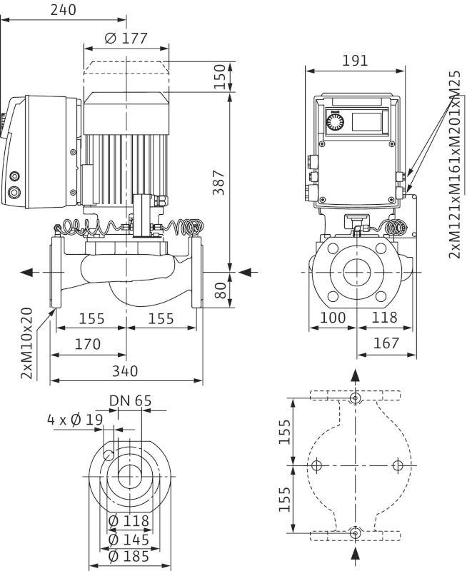 WILO VeroLine IP-E 65/115-1,5/2 R1 Elektronikusan szabályzott száraztengelyű egyes-szivattyú / 2109807