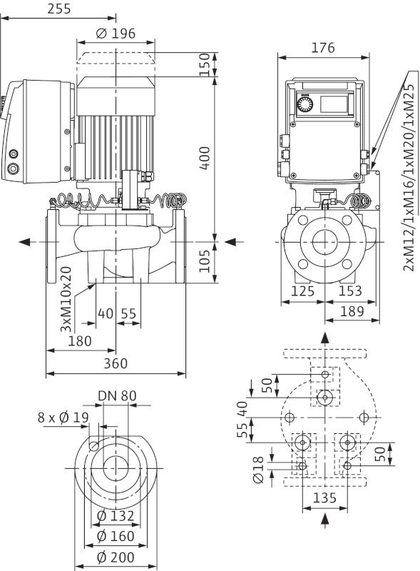WILO VeroLine IP-E 80/130-3/2 R1 Elektronikusan szabályzott száraztengelyű egyes-szivattyú / 2109811