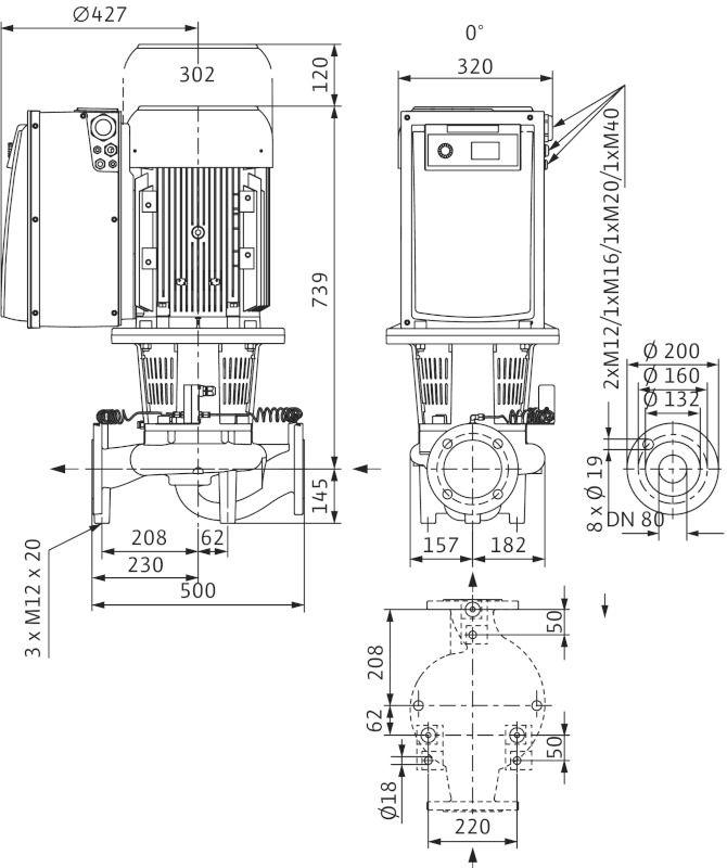 WILO CronoLine IL-E 80/200-22/2 Elektronikusan szabályzott száraztengelyű egyes-szivattyú inline kivitelben / 2114460