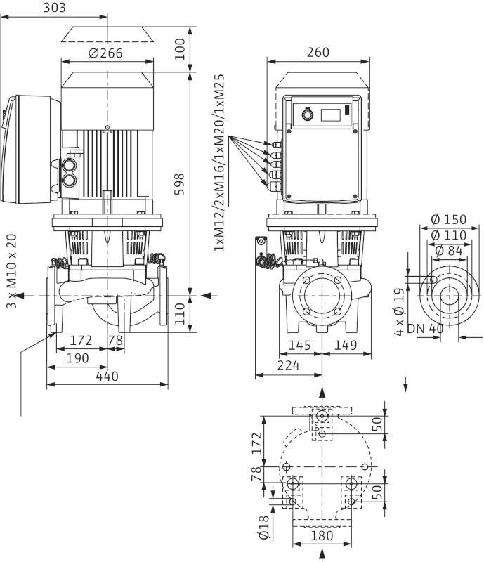 WILO CronoLine IL-E 40/200-7,5/2 R1 Elektronikusan szabályzott száraztengelyű egyes-szivattyú inline kivitelben / 2106710