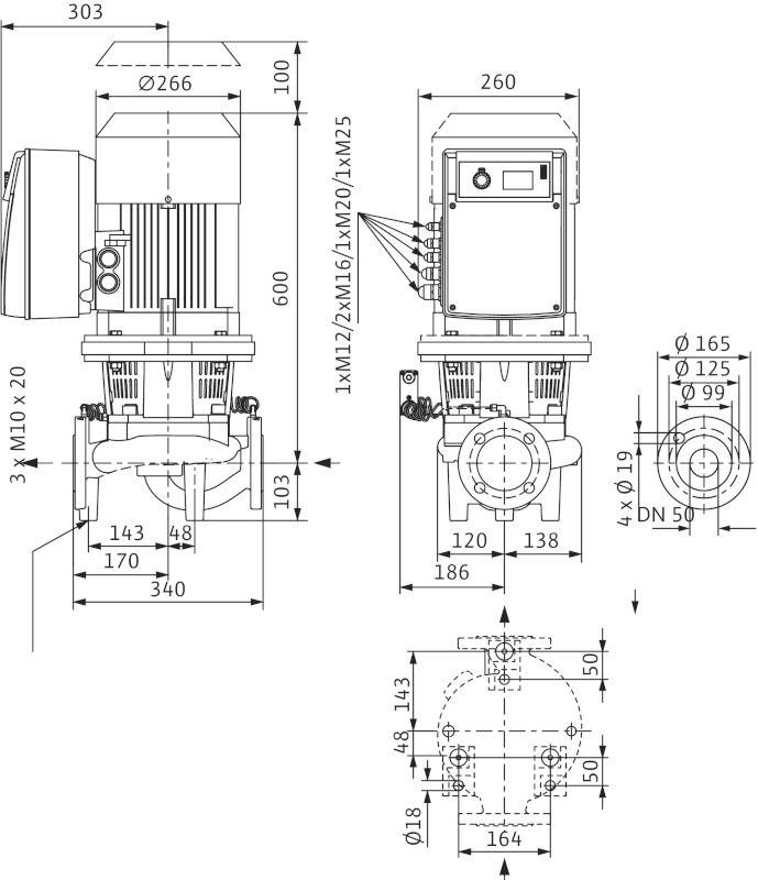 WILO CronoLine IL-E 50/160-5,5/2 R1 Elektronikusan szabályzott száraztengelyű egyes-szivattyú inline kivitelben / 2106711