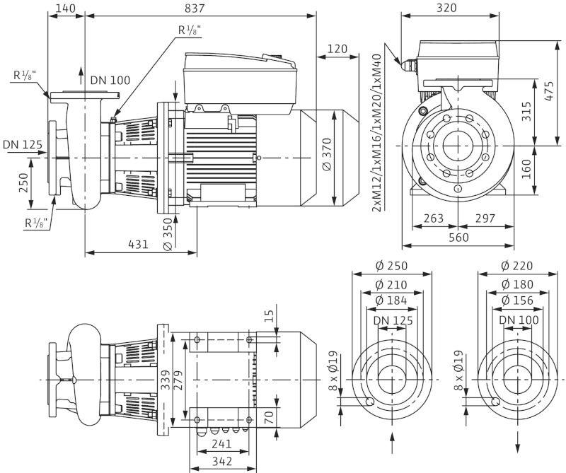 WILO CronoBloc BL-E 100/305-18,5/4-R1 Elektronikusan szabályzott száraztengelyű egyes-szivattyú, blokk kivitelben / 2126155