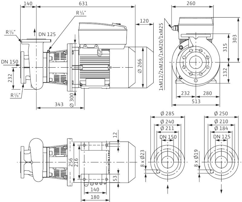 WILO CronoBloc BL-E 125/210-7,5/4-R1 Elektronikusan szabályzott száraztengelyű egyes-szivattyú, blokk kivitelben / 2126158