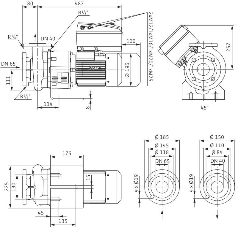 WILO CronoBloc BL-E 40/130-3/2-R1 Elektronikusan szabályzott száraztengelyű egyes-szivattyú, blokk kivitelben / 2126118