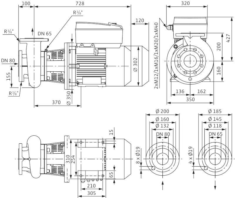 WILO CronoBloc BL-E 65/160-11/2-R1 Elektronikusan szabályzott száraztengelyű egyes-szivattyú, blokk kivitelben / 2126139