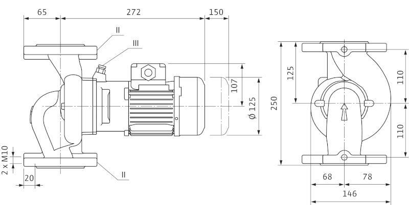 WILO VeroLine IPL 40/80-0,09/4 Csavarzatos vagy karimás csatlakozású, inline kivitelű száraztengelyű szivattyú / 2089695