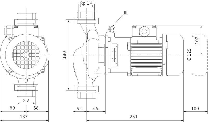 WILO VeroLine IPL 30/90-0,25/2 Csavarzatos vagy karimás csatlakozású, inline kivitelű száraztengelyű szivattyú / 2089576