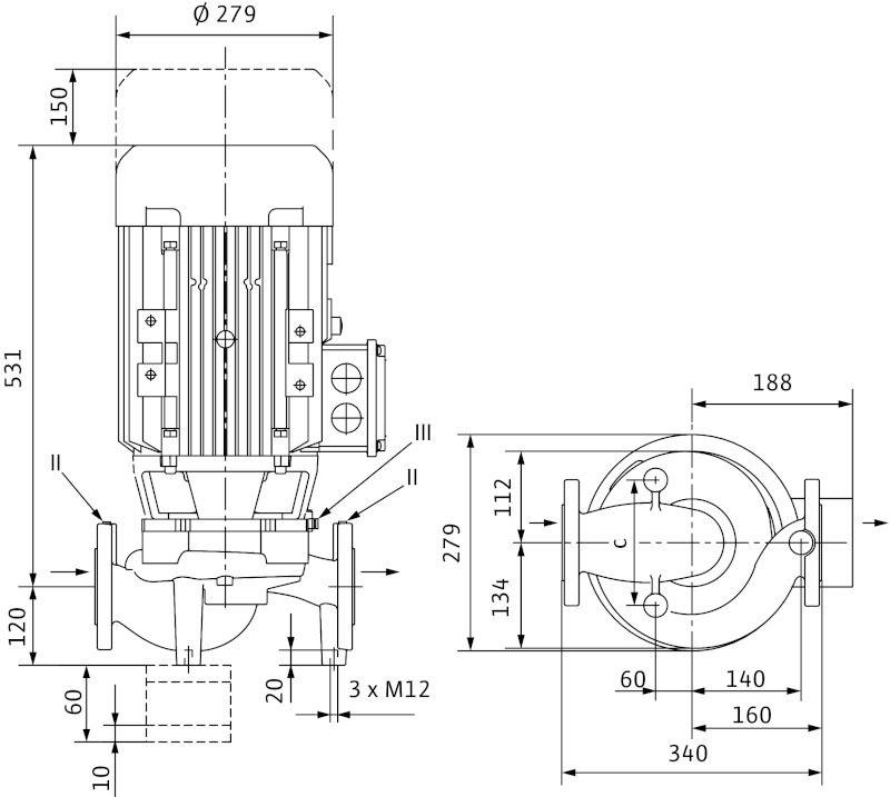 WILO VeroLine IPL 65/155-5,5/2 Csavarzatos vagy karimás csatlakozású, inline kivitelű száraztengelyű szivattyú / 2089608