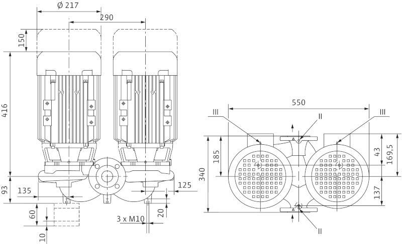 WILO VeroLine IPL 80/110-3/2 Csavarzatos vagy karimás csatlakozású, inline kivitelű száraztengelyű szivattyú / 2129201