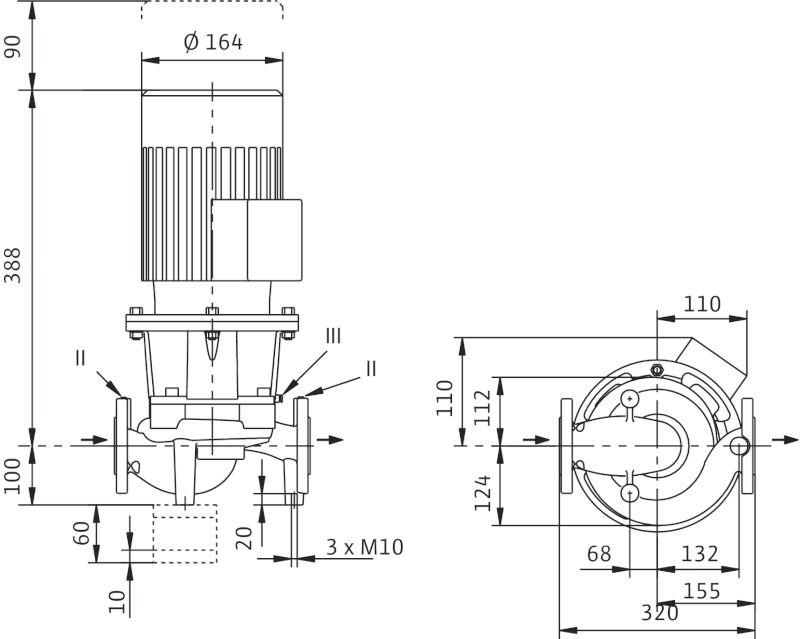 WILO CronoLine IL 32/140-0,25/4 Karimás csatlakozású, inline kivitelű száraztengelyű szivattyú / 2063574