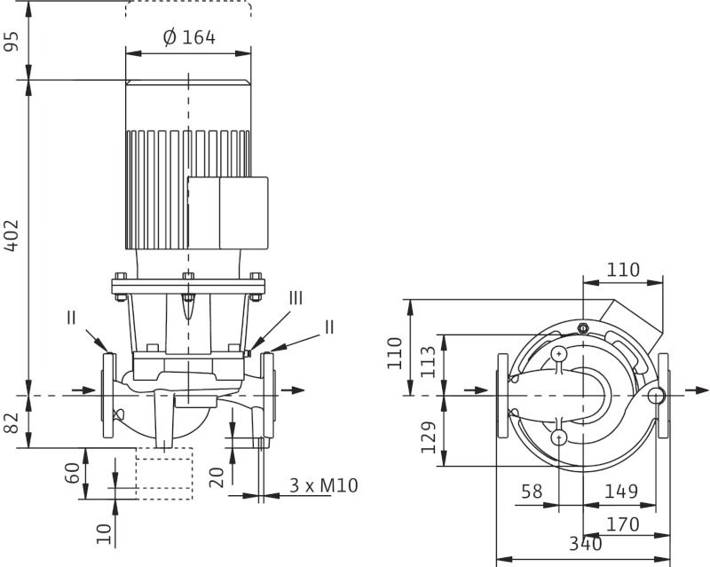 WILO CronoLine IL 40/140-0,25/4 Karimás csatlakozású, inline kivitelű száraztengelyű szivattyú / 2088320